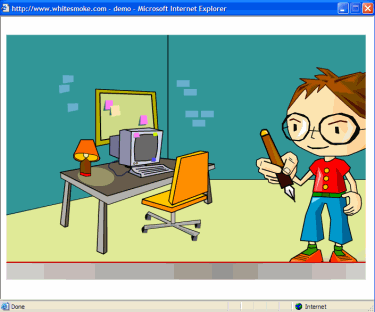 Screenshot from the demo, a creepy cartoon kid and a computer