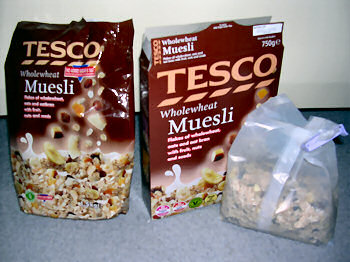 Picture of two different muesli packagings