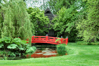 Picture of the Japanese bridge and tea house at Heale Garden
