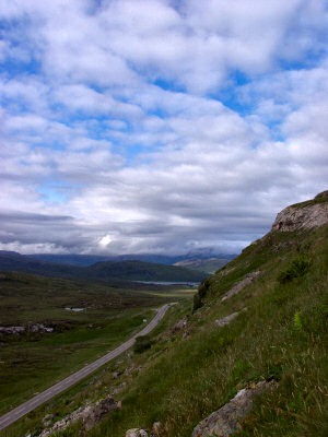 Picture of the view from Knockan Crag along the road north